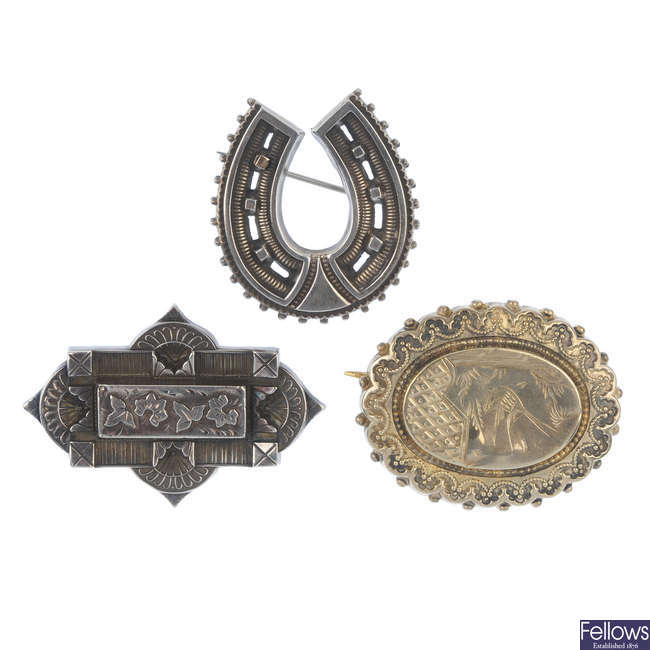 Six Victorian silver brooches.