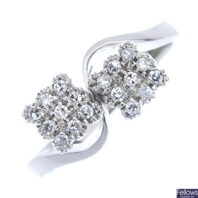 A diamond double cluster ring.