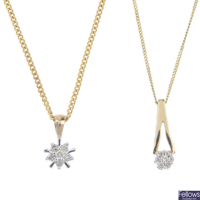 A selection of two diamond cluster pendants and three pairs of diamond-set ear studs.