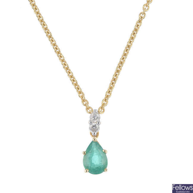 A set of 18ct gold emerald and diamond jewellery.