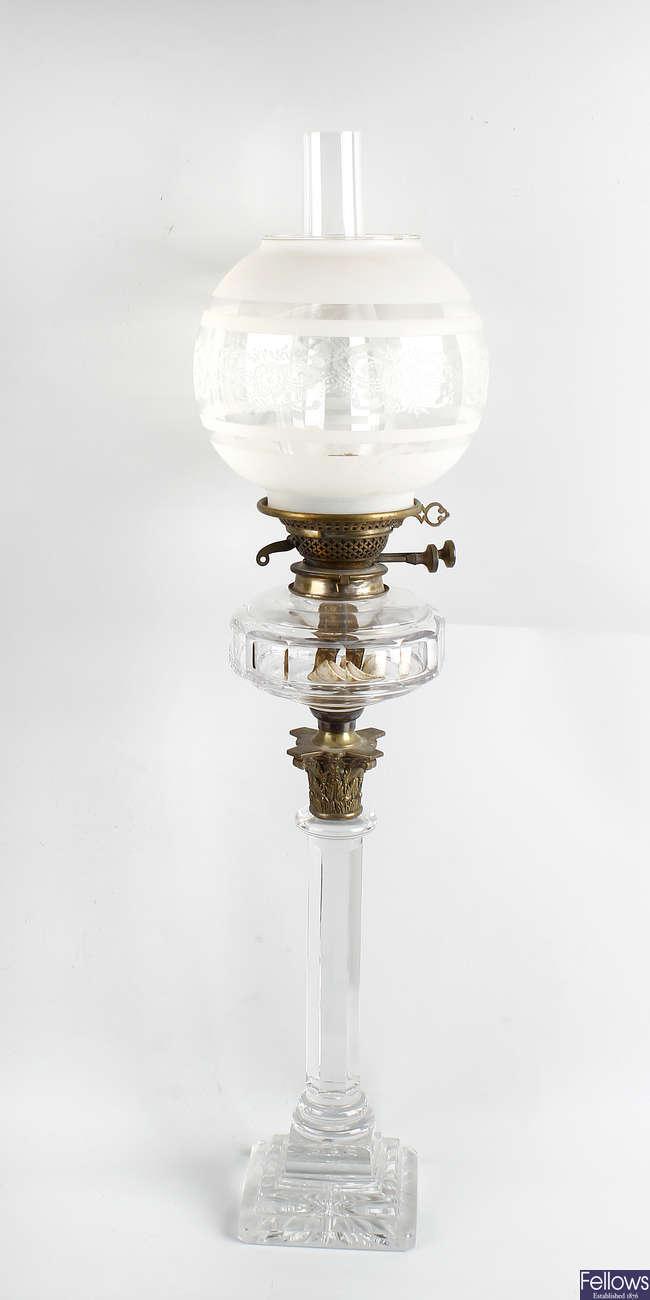 A glass paraffin lamp