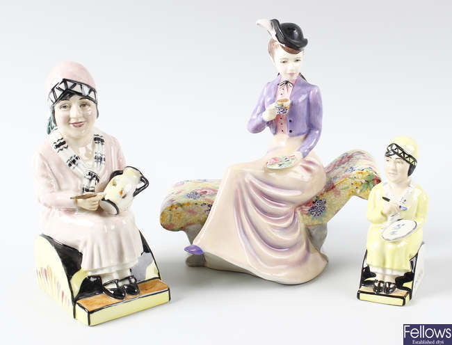 Two Kevin Francis figures, together with Royal Winton figure and plate