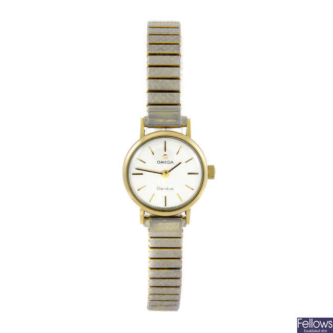 OMEGA - a lady's gold plated Gen�ve bracelet watch.