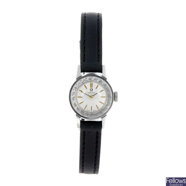 OMEGA - a lady's stainless steel wrist watch.
