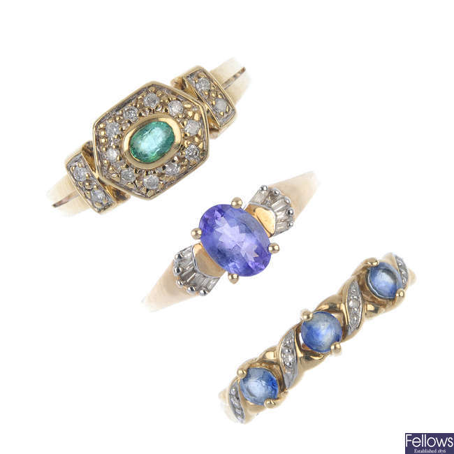 A selection of three diamond and gem-set rings.