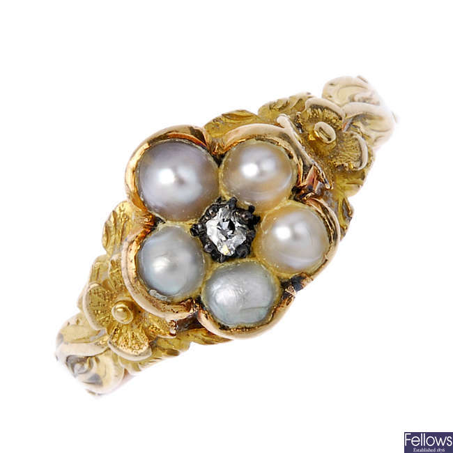 A late 19th century split pearl and diamond floral cluster ring.
