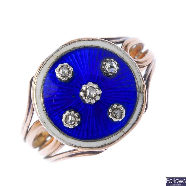 An enamel and diamond dress ring.