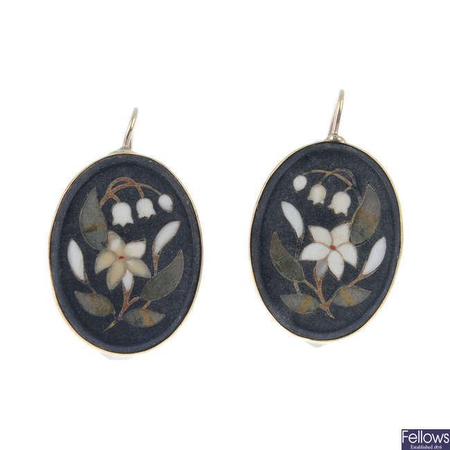 A pair of pietra dura earrrings.
