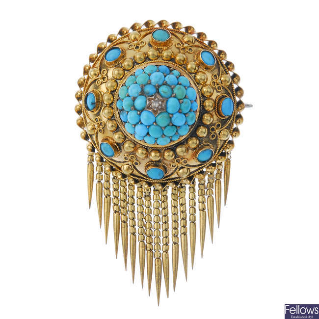 A mid 19th century gold turquoise and diamond memorial brooch.