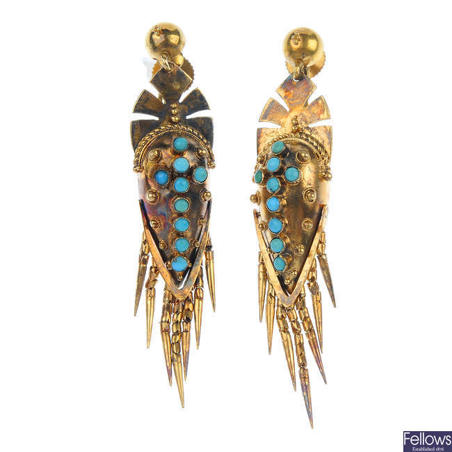 A pair of mid 19th century 18ct gold turquoise ear pendants.