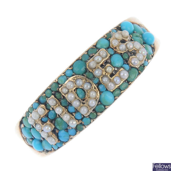 A late 19th century, 18ct gold turquoise and split pearl 'Fides' ring.