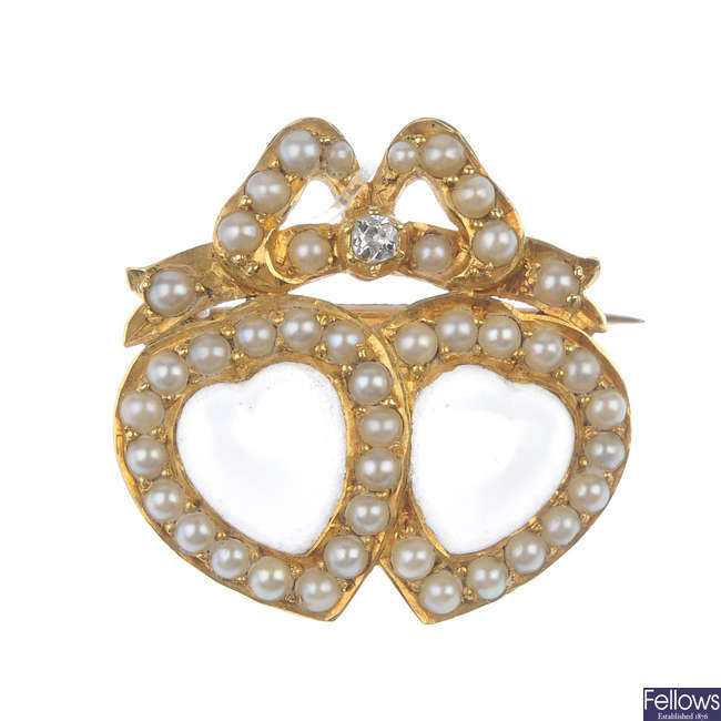 A late 19th century 15ct gold moonstone and split pearl brooch.