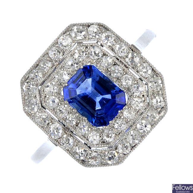 An early 20th century platinum sapphire and diamond cluster ring.