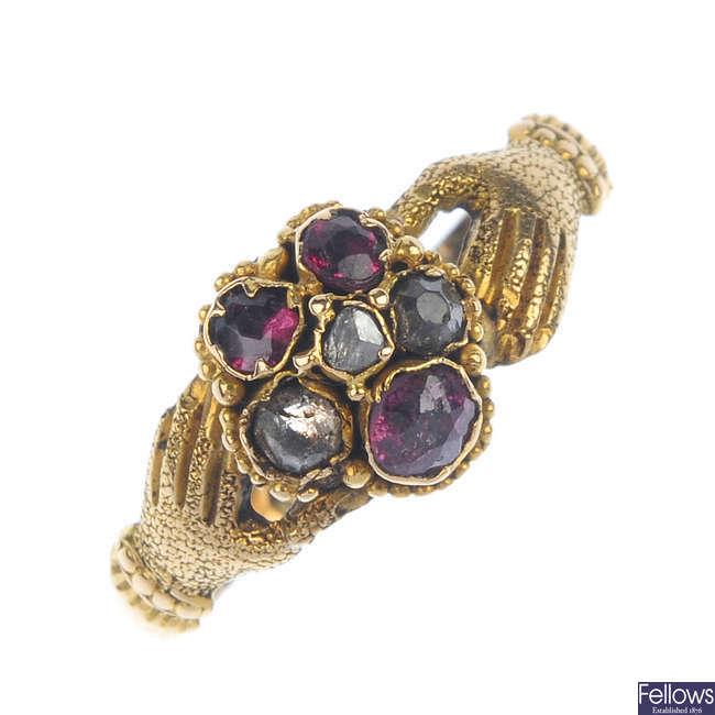 A late Victorian gold multi-gem fede ring, circa 1880.