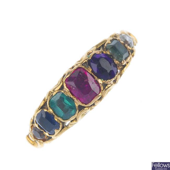 A late 19th century gold multi-gem 'Dearest' ring.