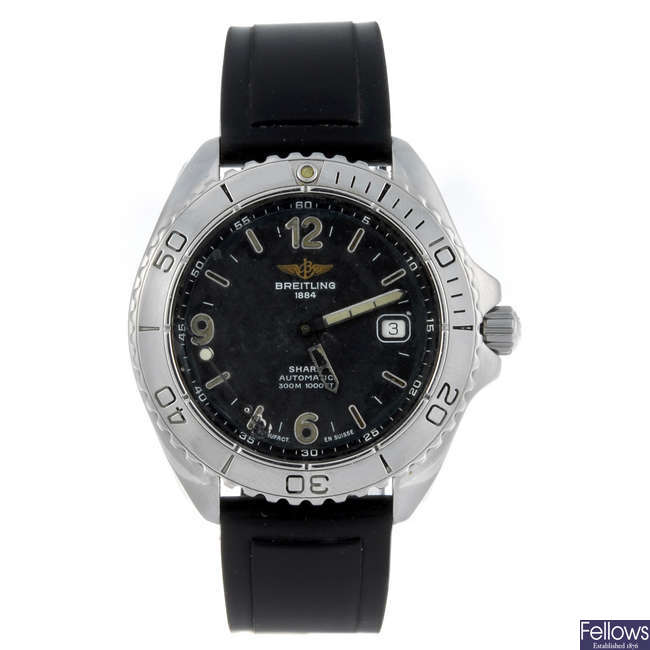 BREITLING - a gentleman's stainless steel Shark wrist watch.