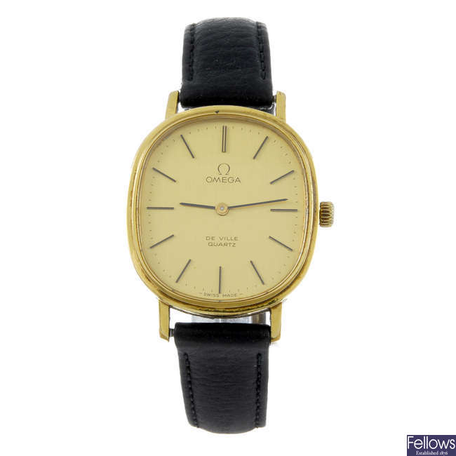 OMEGA - a gentleman's gold plated De Ville wrist watch with two gentleman's Omega watches.