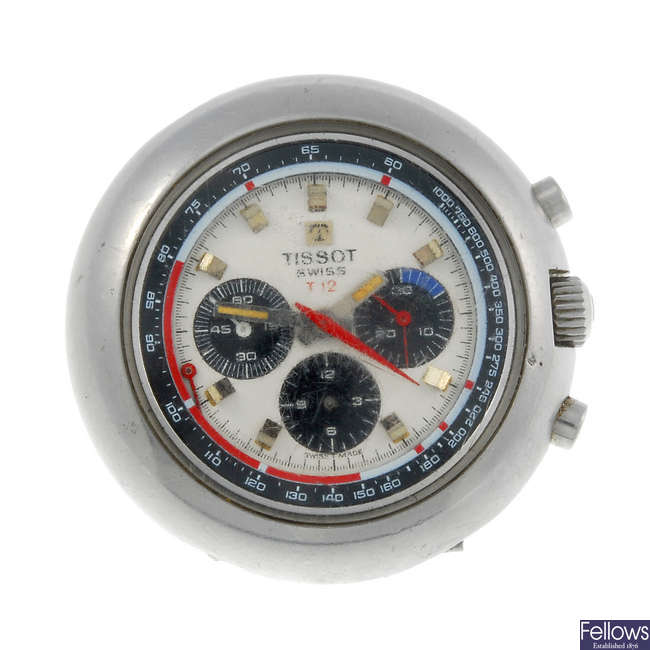 TISSOT - a gentleman's stainless steel T 12 chronograph watch head with two Longines watches.