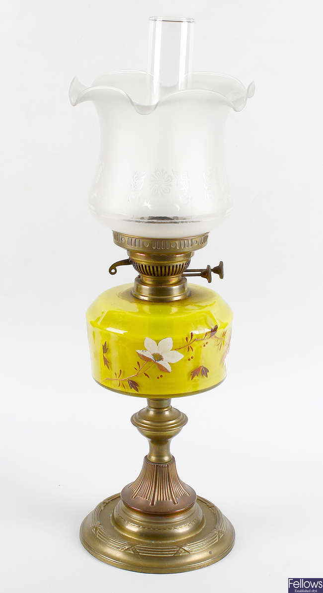 Two brass paraffin lamps