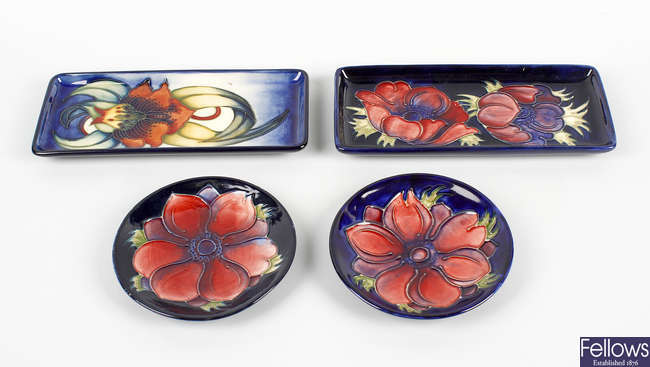 Two Moorcroft dishes and two rectangular trays