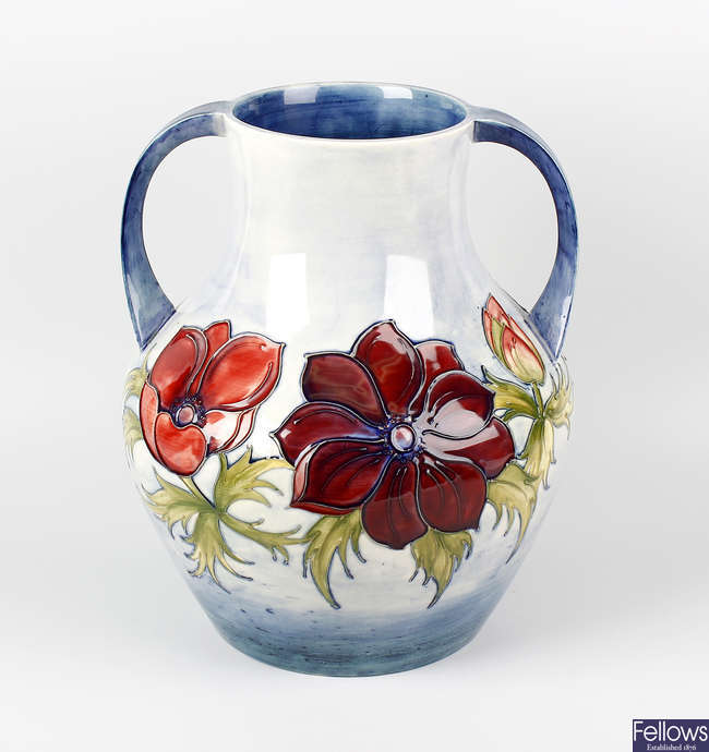 A large Moorcroft 'Anemone' pattern two-handled vase