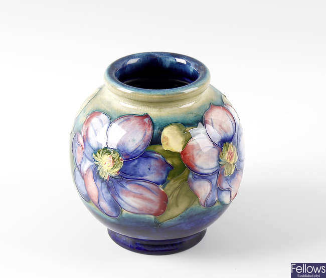 A Moorcroft pottery Clematis pattern vase.