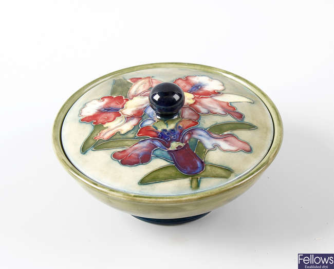 A Moorcroft pottery Orchid pattern bowl and cover