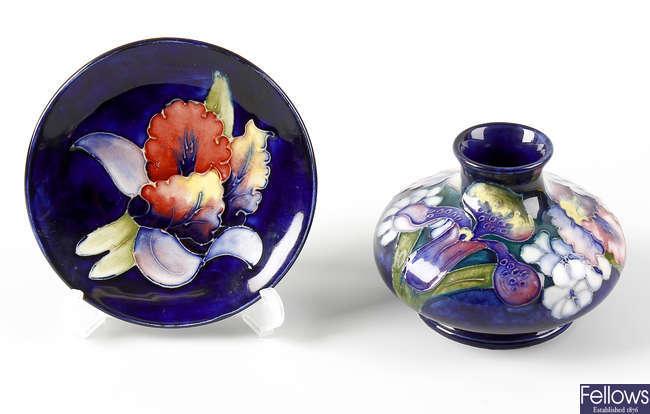 A orchid vase - squat bulbous, and dish (2)