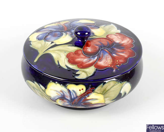 A Moorcroft hibiscus bowl and cover