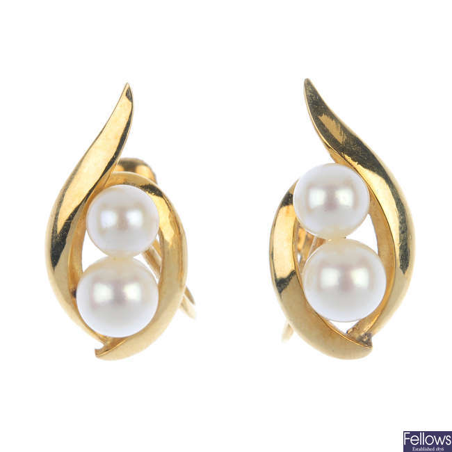 MIKIMOTO - a pair of cultured pearl ear clips.