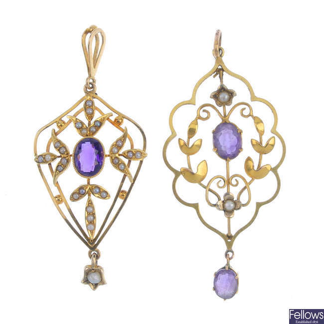Two early 20th century gold amethyst and split pearl pendants.