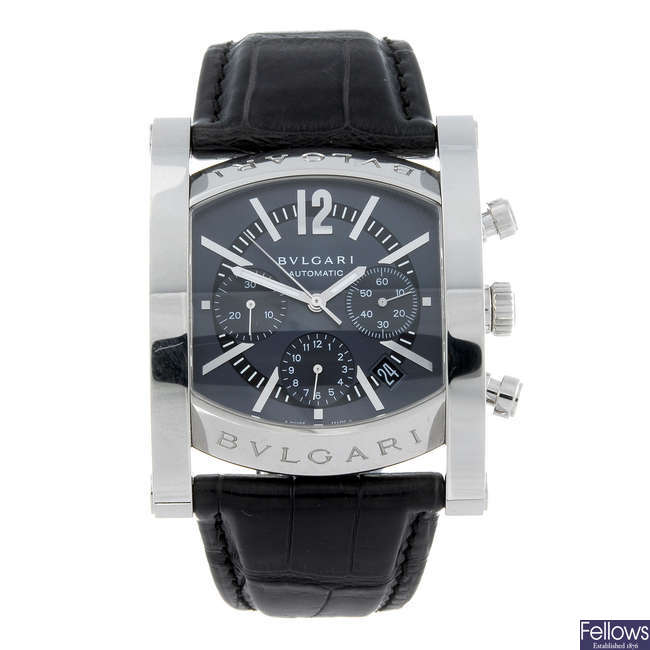 BULGARI - a gentleman's stainless steel Assioma chronograph wrist watch.
