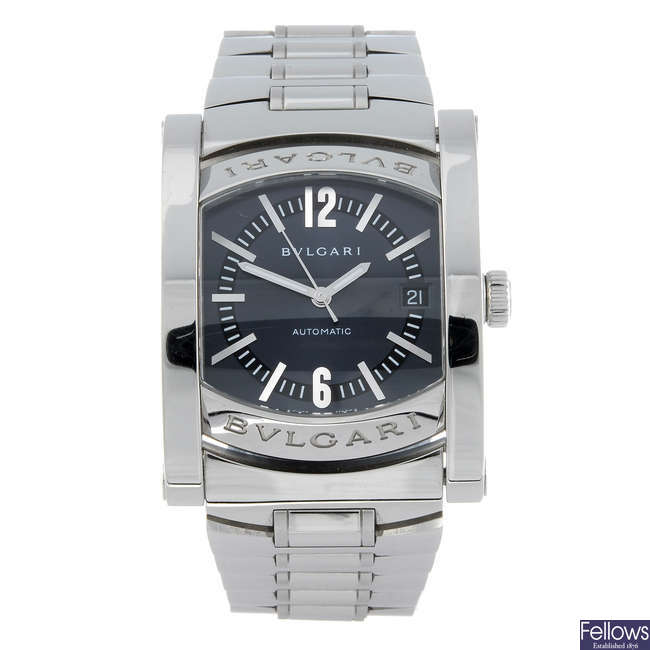 BULGARI - a gentleman's stainless steel Assioma bracelet watch.