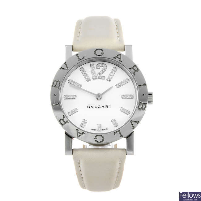 BULGARI - a lady's stainless steel Bulgari wrist watch.
