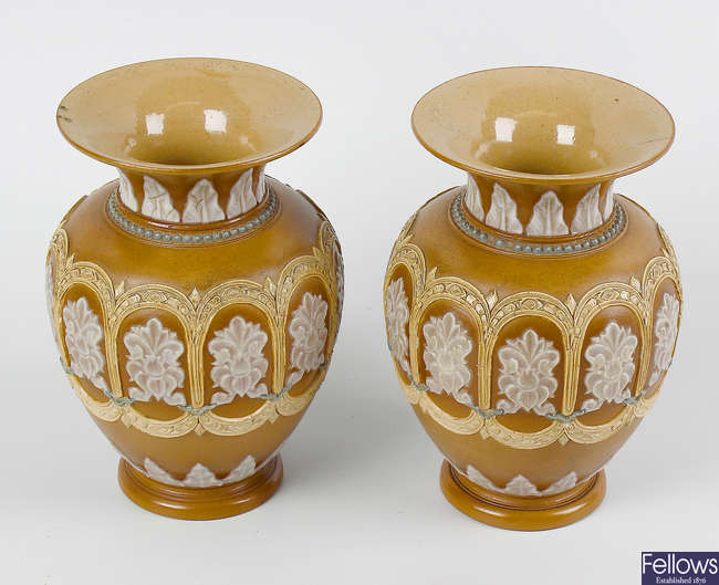 A pair of Doulton Lambeth silicone ware vases