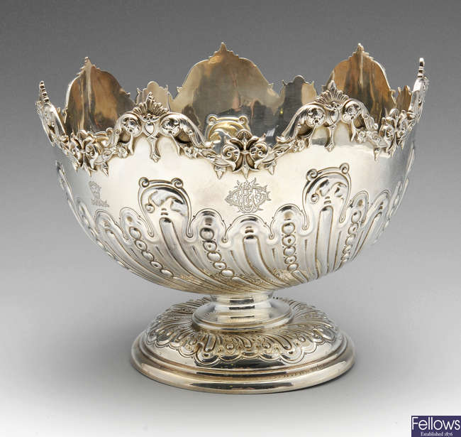 A late Victorian silver rose bowl.