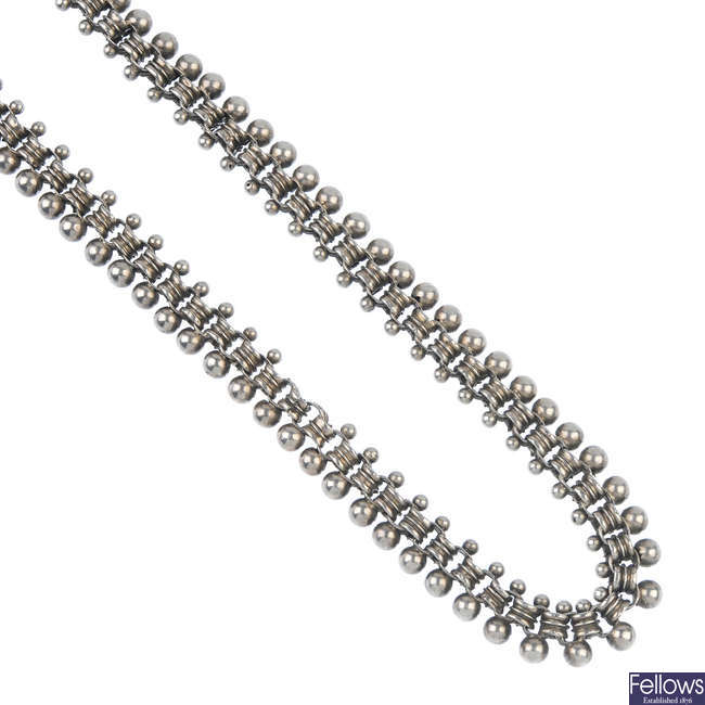 A late 19th century silver collar.