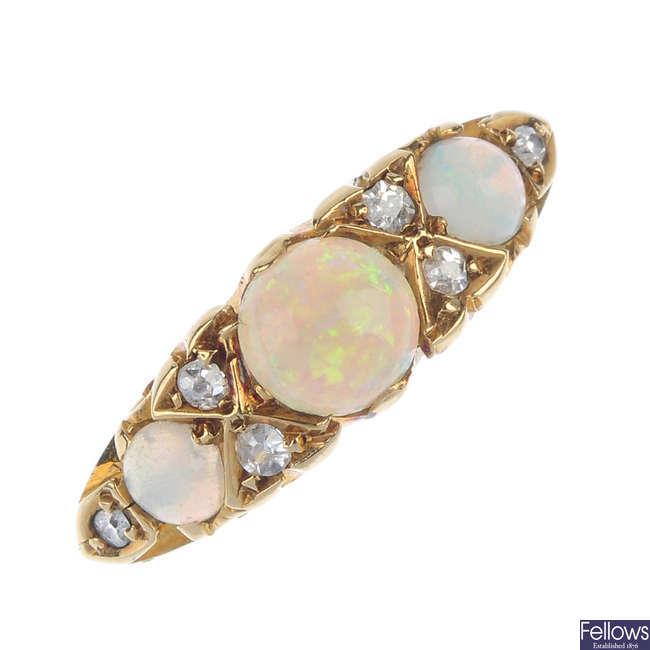 An Edwardian opal and diamond ring.