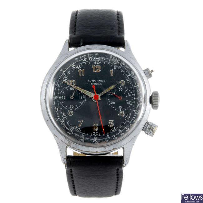 JUNGHANS - a gentleman's base metal chronograph wrist watch with a Mirak chronograph wrist watch.