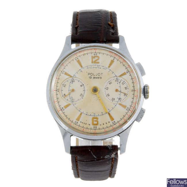 POLJOT - a gentleman's base metal chronograph wrist watch with a Pierce chronograph watch head.