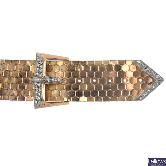 A mid 20th century 18ct gold diamond buckle bracelet.