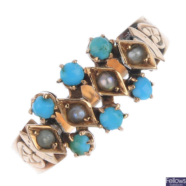 A late 19th century gold turquoise and split pearl expandable ring.