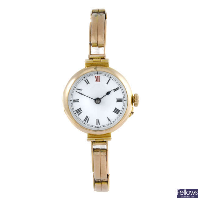 A lady's 9ct yellow gold bracelet watch with 9ct gold lady's Marvin bracelet watch.