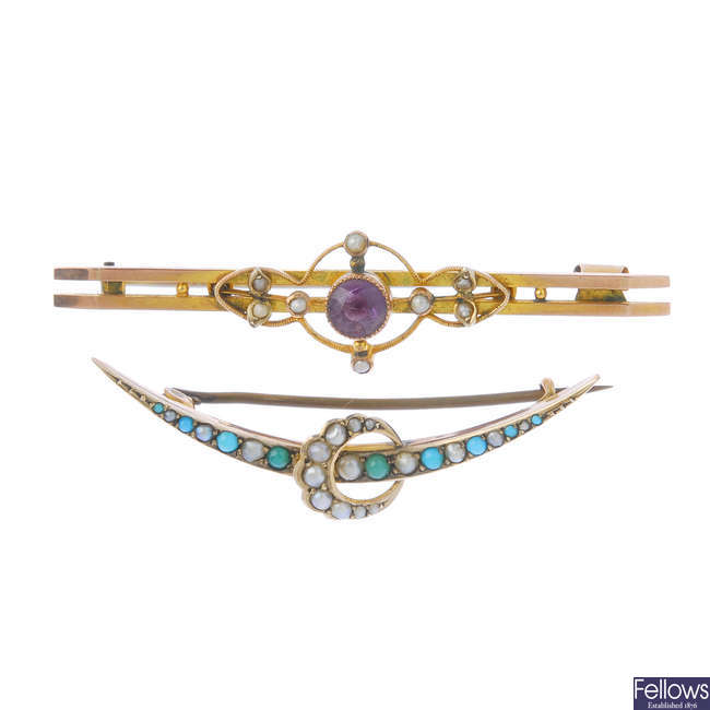 Four late 19th to early 20th century gold brooches.