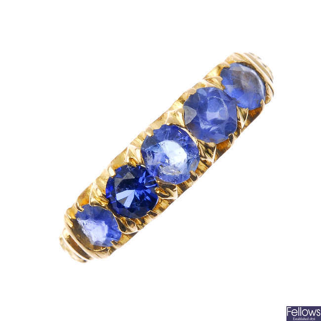 An early 20th century 18ct gold gem-set five-stone ring.