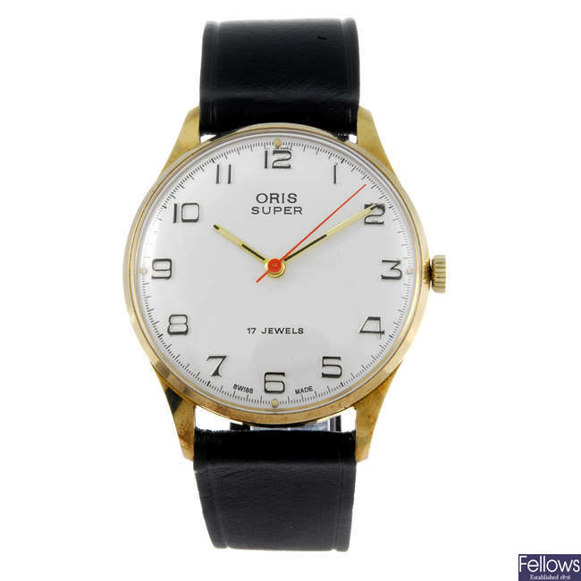ORIS - a gentleman's gold plated Super wrist watch with another Oris wrist watch.