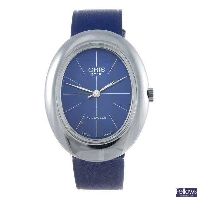 ORIS - a gentleman's base metal Star wrist watch with a lady's Oris wrist watch.