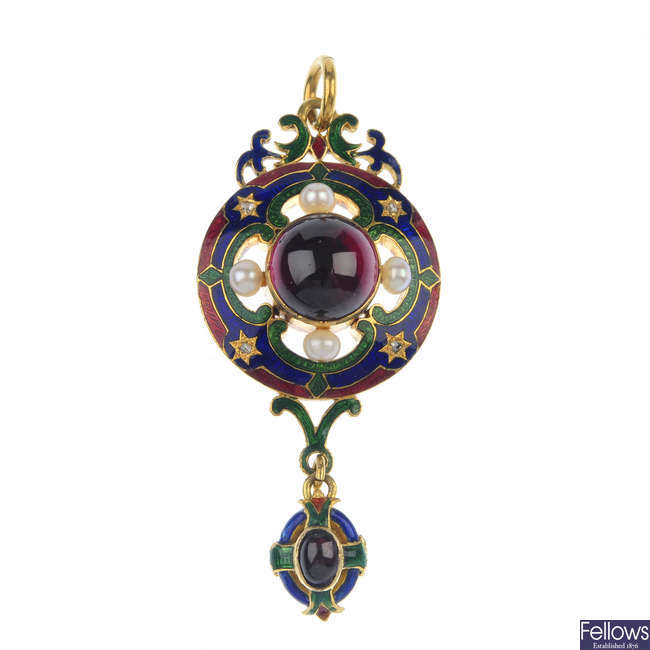 A mid 19th century gold Holbeinesque, garnet, pearl and enamel pendant.