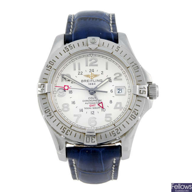 BREITLING - a gentleman's stainless steel Aeromarine Colt GMT wrist watch.