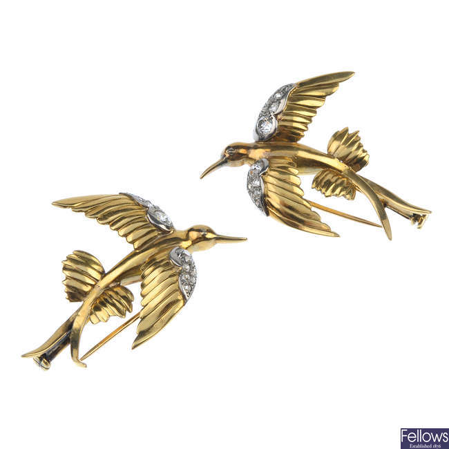 A pair of mid 20th century diamond hummingbird clips.